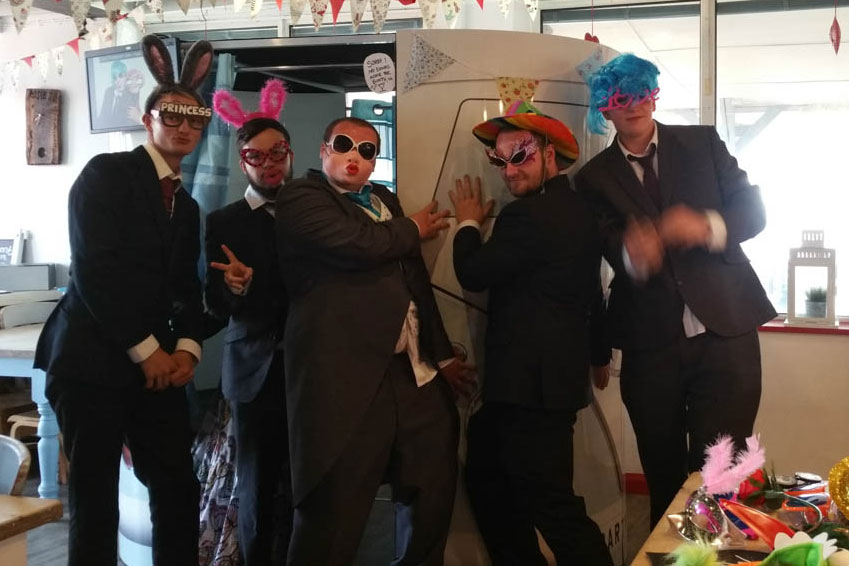Lads outside our popular VW Camper Photo booth
